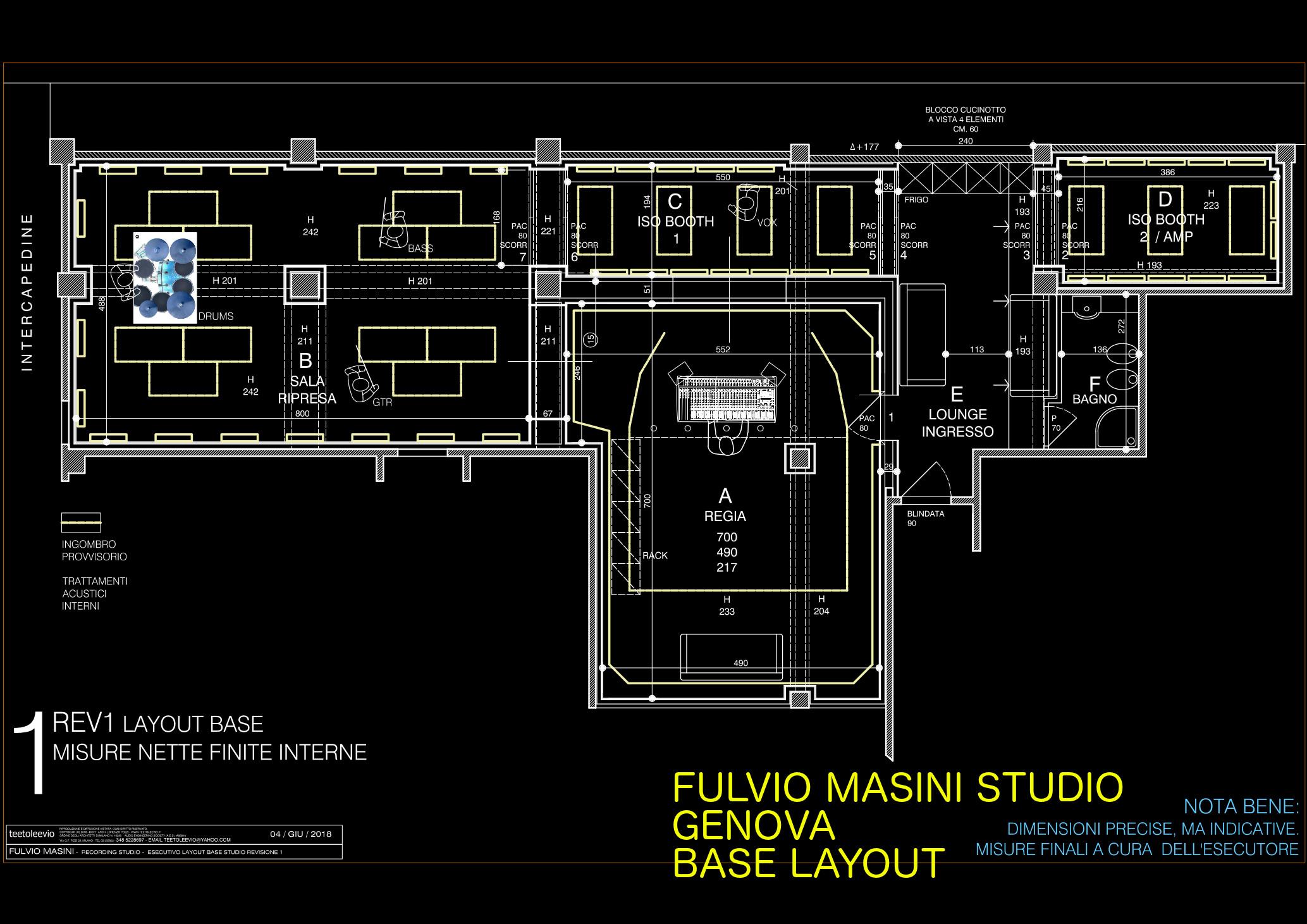 disegno pavimento flottante studio registrazione